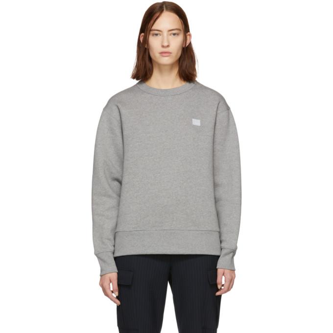 Acne Studios Grey Oversized Fairview Face Sweatshirt in Light Grey