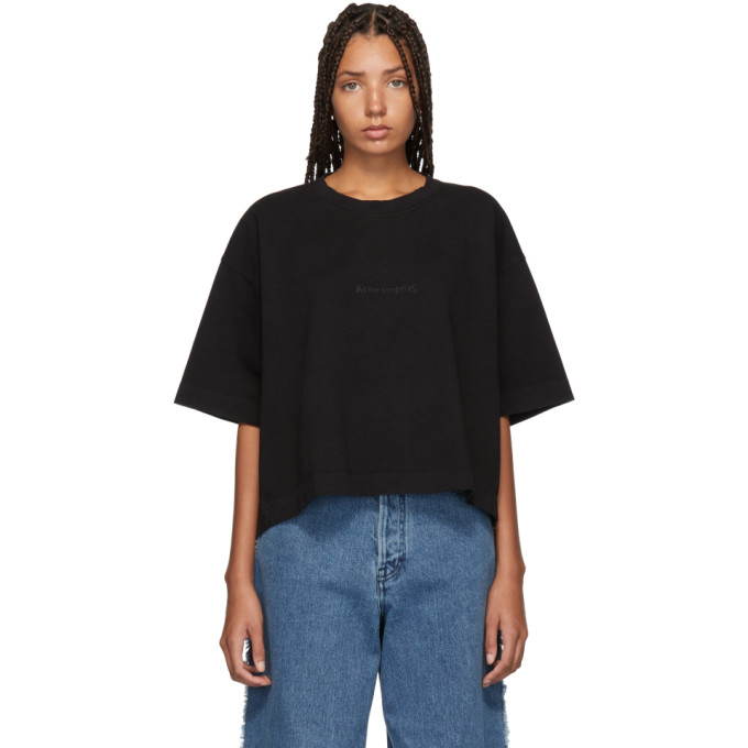 Acne Studios Black Embossed Logo Cylea T Shirt