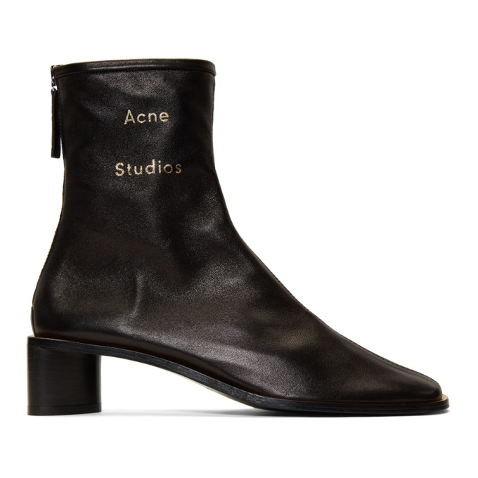 Acne Studios Black Bertine Branded Boots