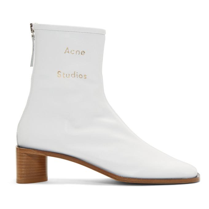 Acne Studios White Bertine Branded Boots