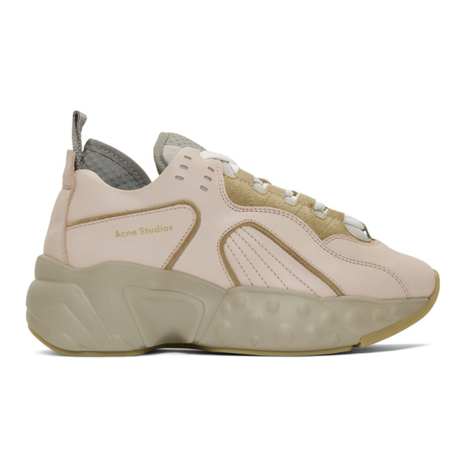 Acne Studios Pink and Beige Manhattan Sneakers
