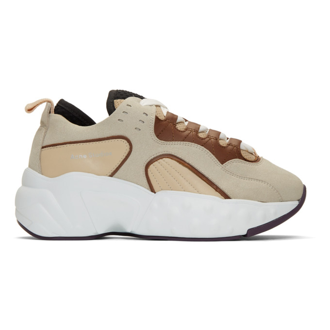 Acne Studios Beige and White Manhattan Sneakers