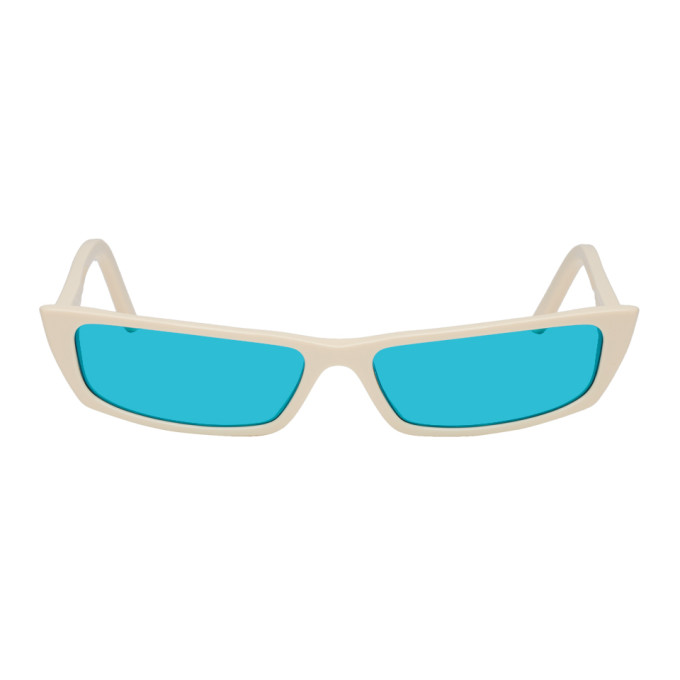 Acne Studios Off White and Blue Agar Sunglasses