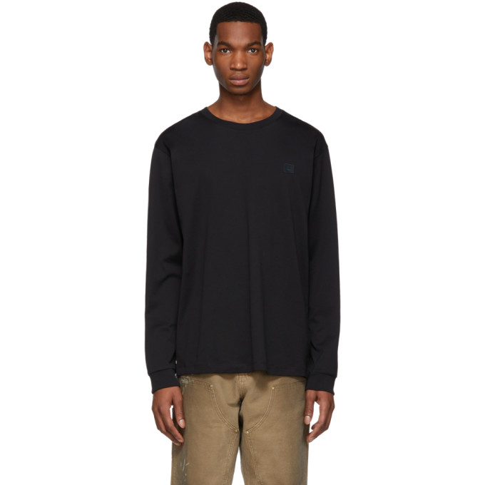 Acne Studios Black Elwood Face Long Sleeve T Shirt