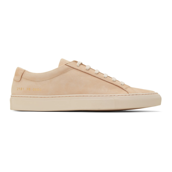 Image of Common Projects Beige Nubuck Original Achilles Low Sneakers