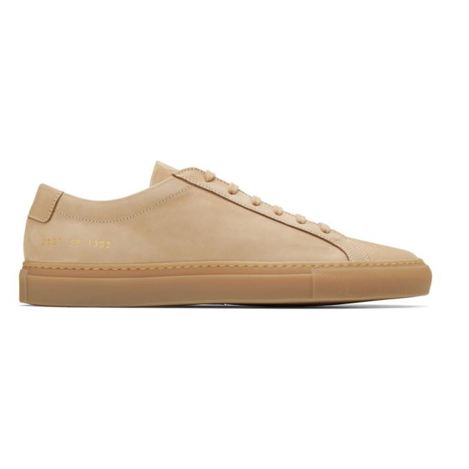hot sale online dc89c 8e3ee Common Projects Tan Nubuck Original Achilles Low Sneakers In 1302 Tan    ModeSens