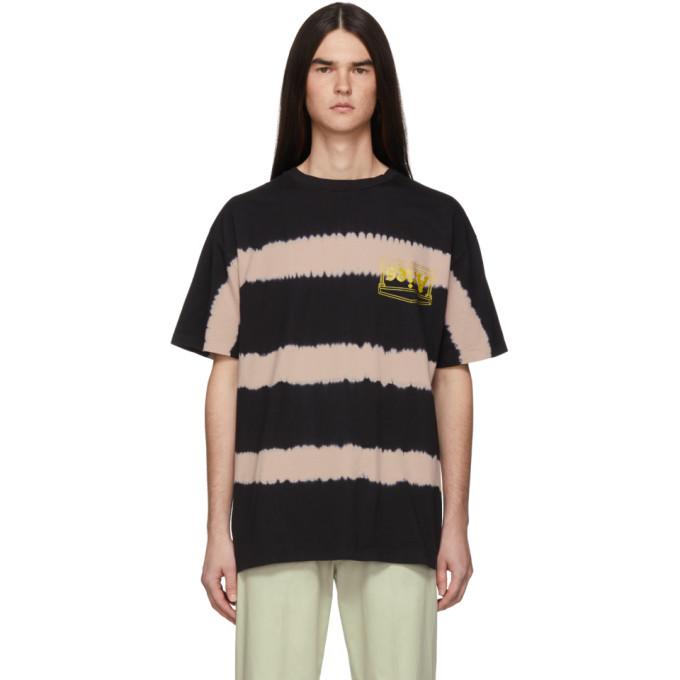 Aries T-shirt a rayures tie-dye rose et noir