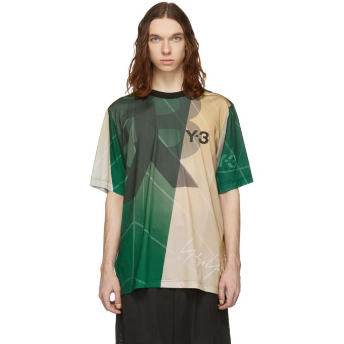 Y-3 T-shirt beige et vert AOP Football