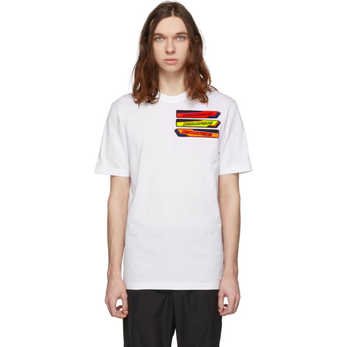 Dsquared2 ホワイト ロゴ パッチ T シャツ