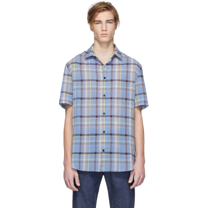 Band of Outsiders Chemise surdimensionnee a carreaux bleue Casual