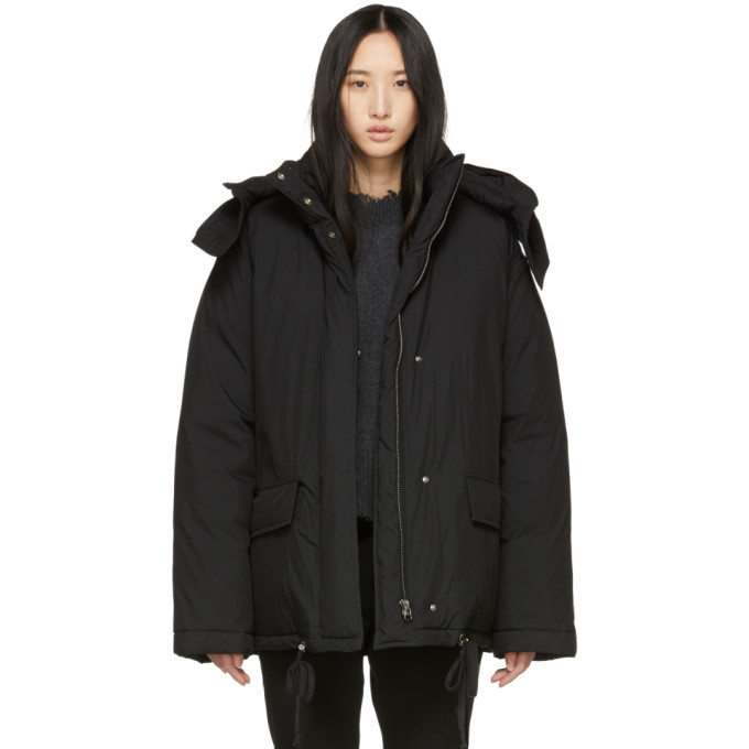 Removable Hood Puffer Jacket in Black