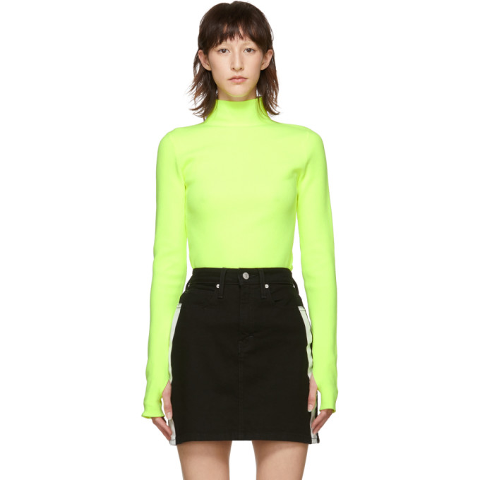 Neon Ribbed Cotton Turtleneck Sweater in Green from Liberty