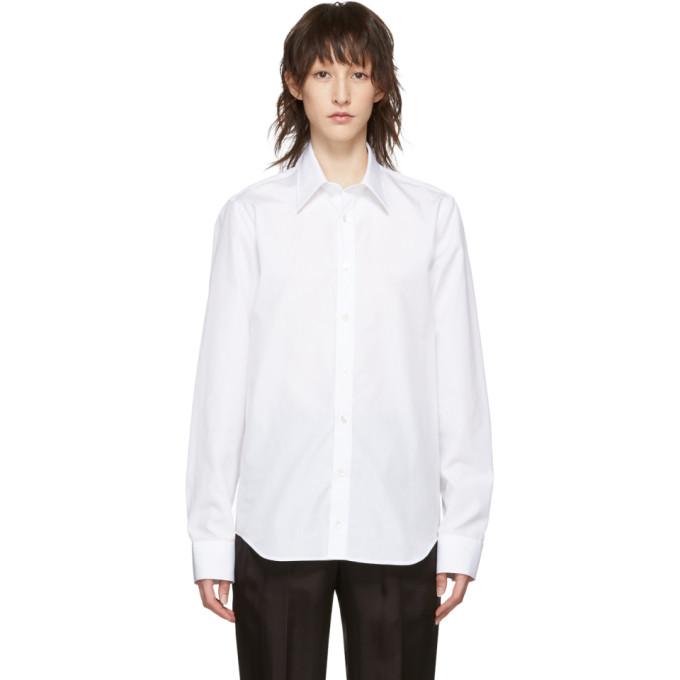 Helmut Lang Chemise en popeline a logo blanche