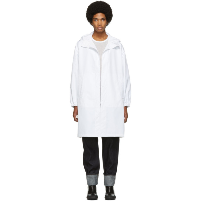 77aca1074e8 Helmut Lang White Recycled Hooded Raincoat