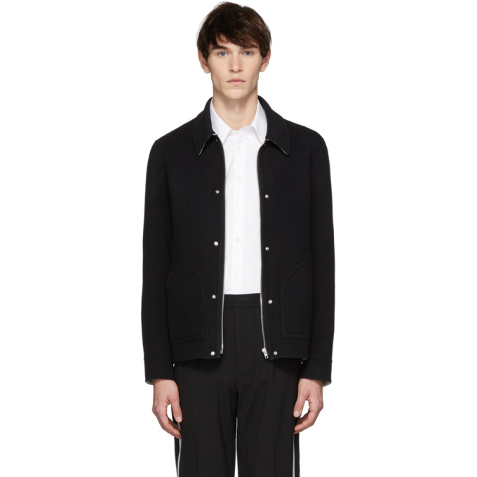 Logo Wool Blouson Jacket - Black Size M in Xw7Black/N