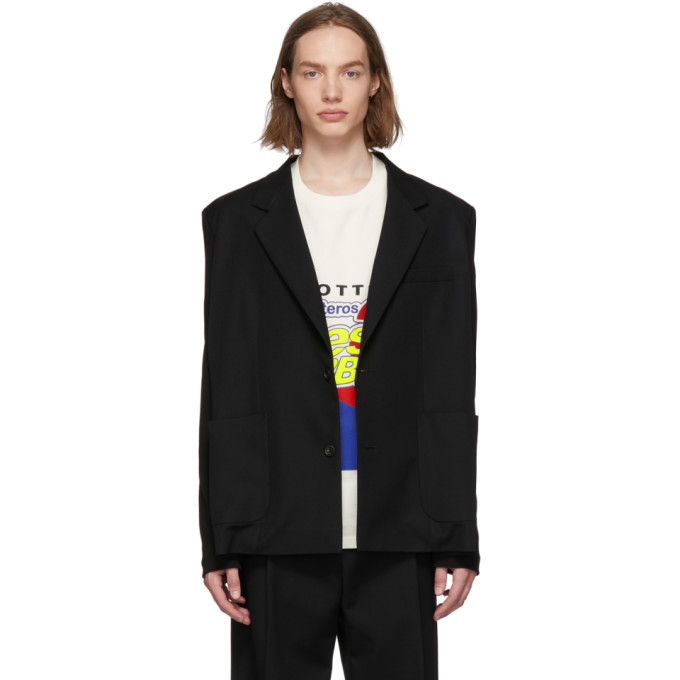 BOTTER | Botter Black Wool Tricot Sleeve Blazer | Goxip
