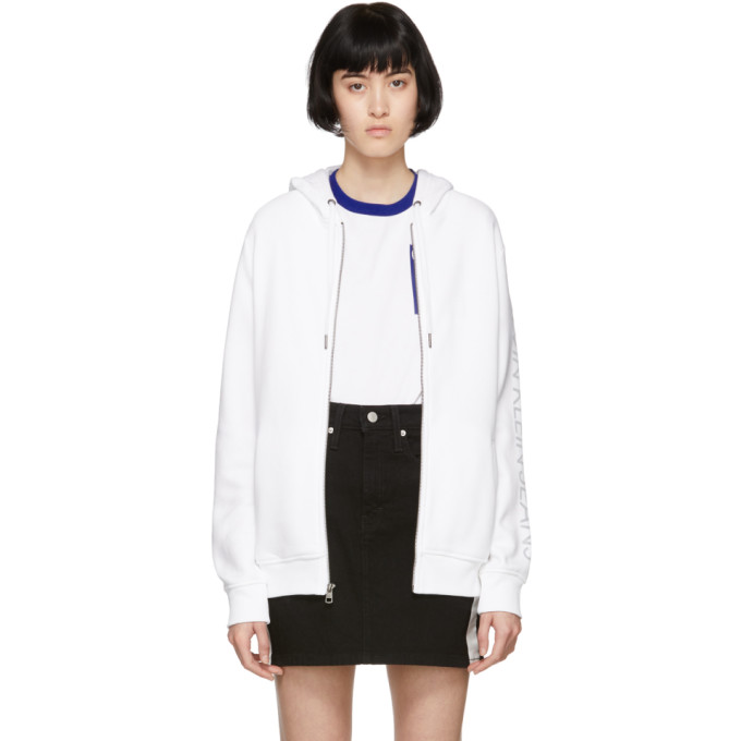 Image of Calvin Klein Jeans White Heavyweight Zip-Up Hoodie