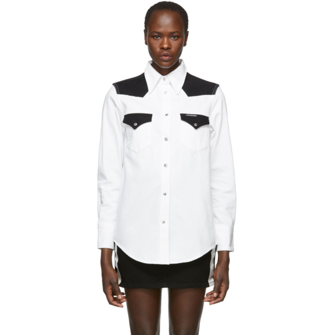Calvin Klein Jeans White & Black Denim Blocked Western Shirt