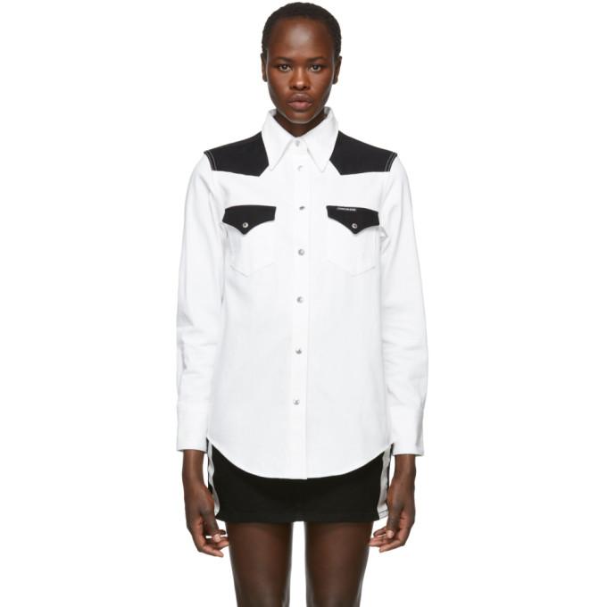 Calvin Klein Jeans White & Black Denim Blocked Western Shirt