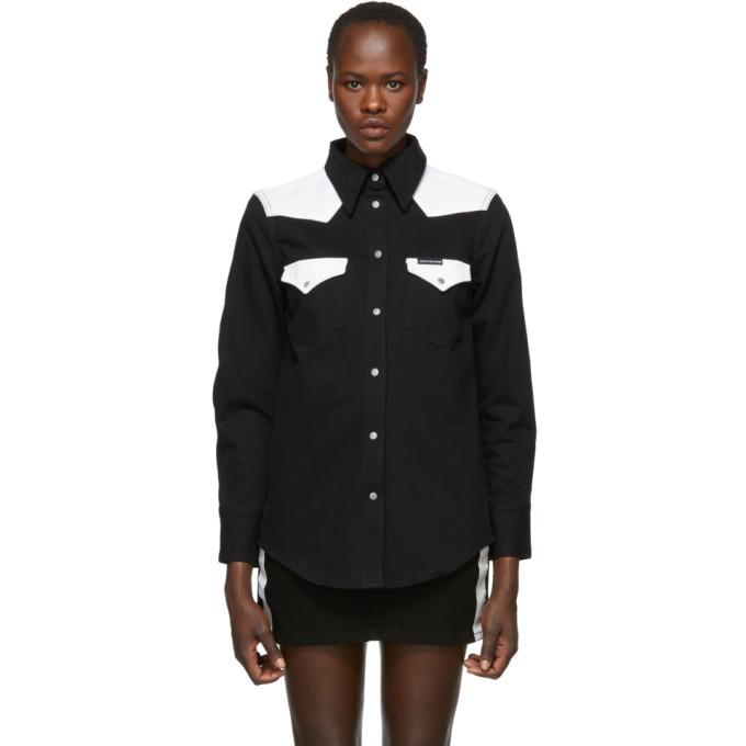 Calvin Klein Jeans Black & White Denim Blocked Western Shirt