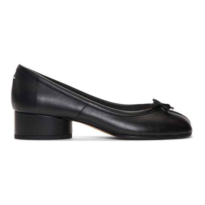 Maison Margiela Black Leather Tabi Ballerina Heels