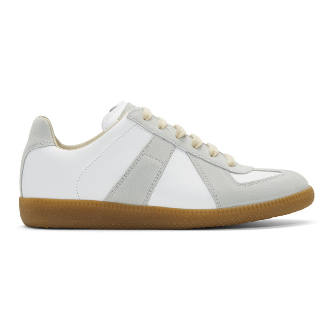 Replica Leather And Suede Sneakers in T1016 White