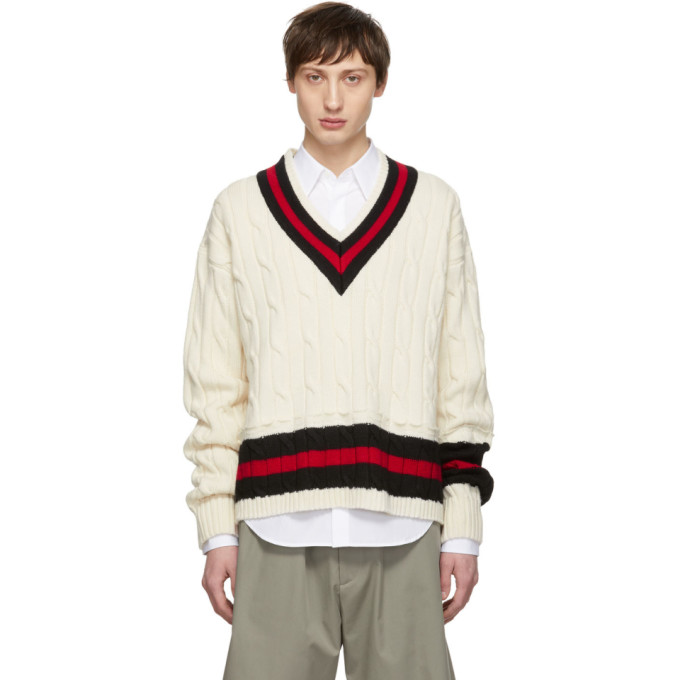 Image of Maison Margiela Beige Collegiate Decortique V-Neck Sweater