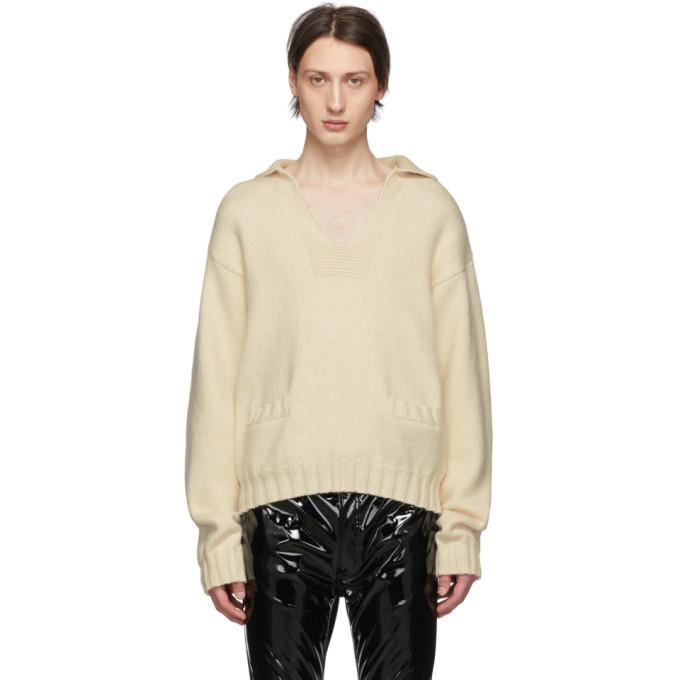 Maison Margiela ホワイト カシミア V ネック セーター