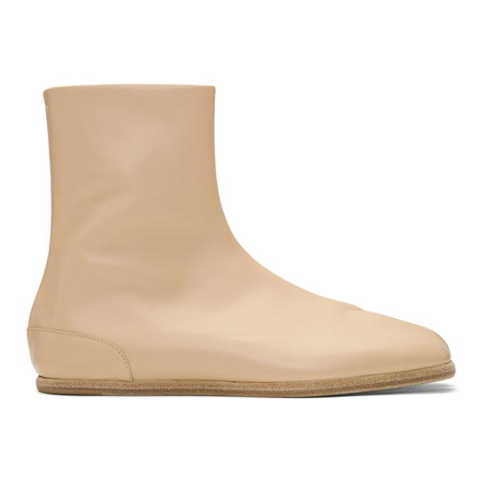Image of Maison Margiela Beige Flat Tabi Boots