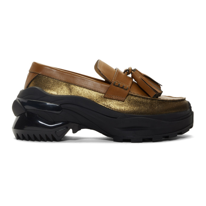 Maison Margiela Tan & Gold Moccasin Loafers