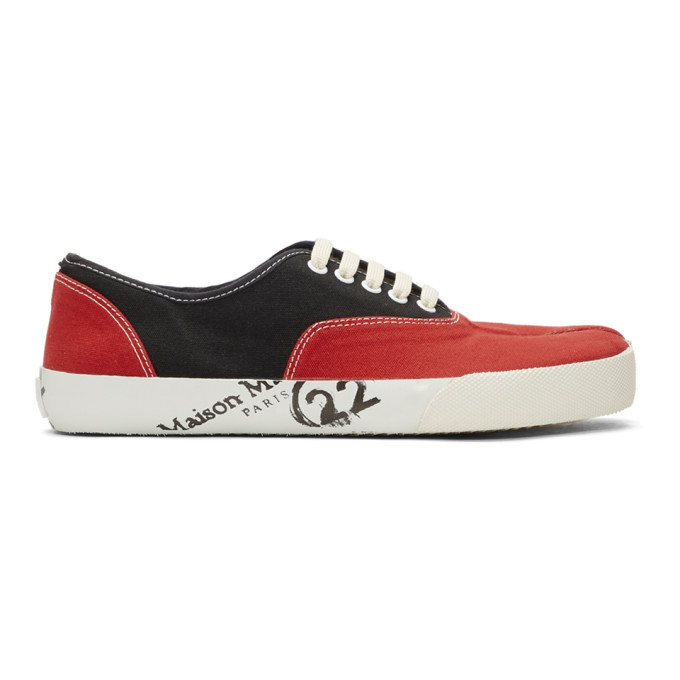 772f96accf4 Maison Margiela Black Red Tabi Sneakers