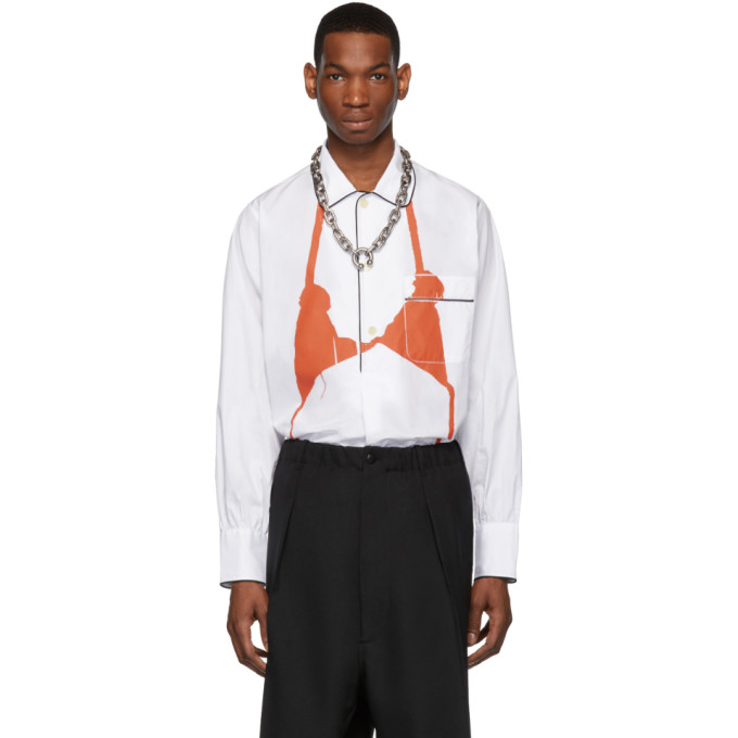 Random Identities Chemise blanche et orange Bra PJ
