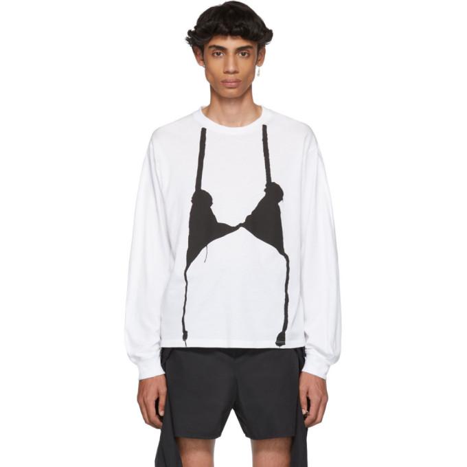 Random Identities White and Black Knit Bra Long Sleeve T-Shirt