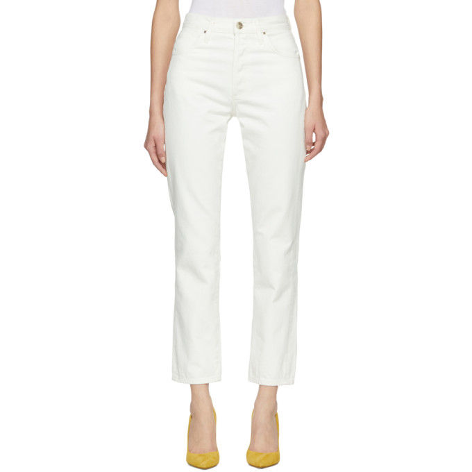 GOLDSIGN Goldsign Off-White The Benefit Jeans in Pearl