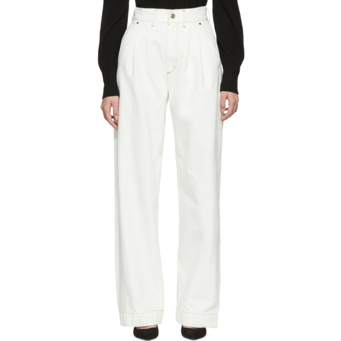 GOLDSIGN Goldsign White The Trouser Jeans in Pearl