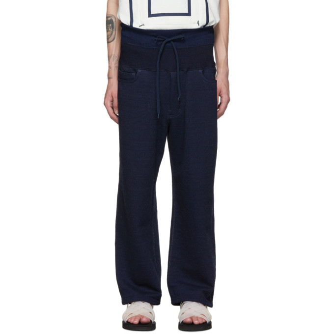 Fumito Ganryu Pantalon de survetement indigo Double Waist 5-Pocket