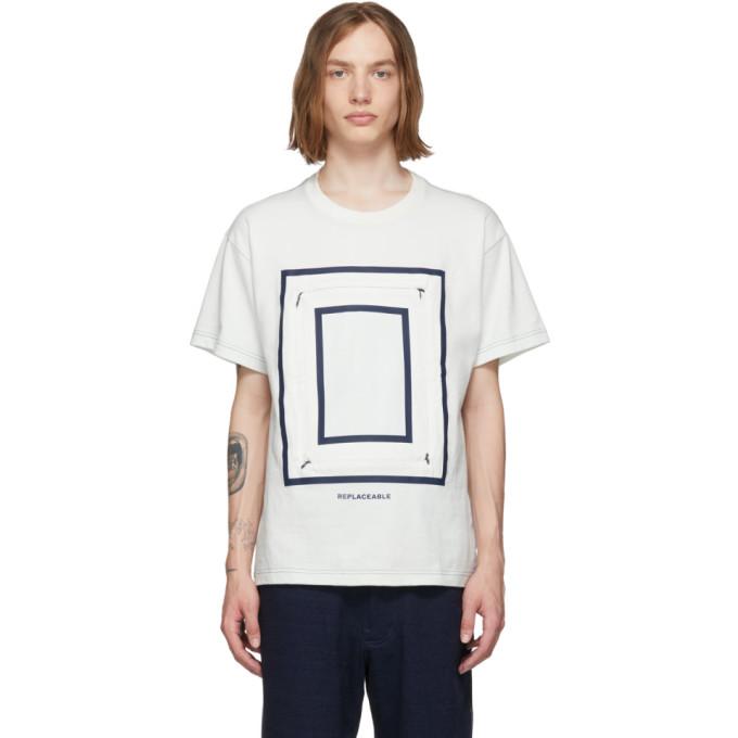 Fumito Ganryu T-shirt blanc casse et indigo Detachable Square