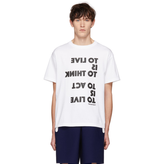 Fumito Ganryu T-shirt blanc To Live Is To Think exclusif a SSENSE