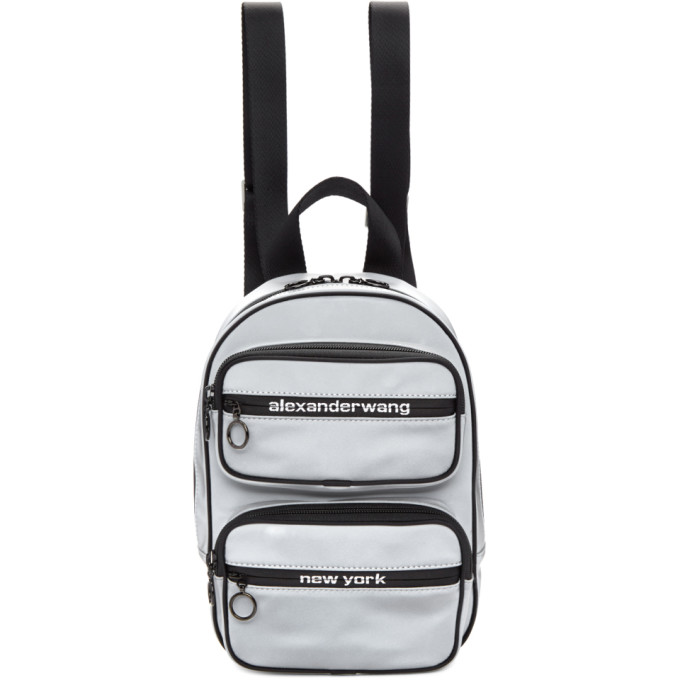 Alexander Wang Silver Medium Reflective Attica Backpack