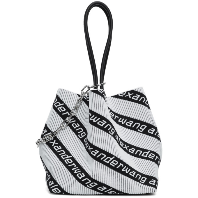 4f180a6ee91 Alexander Wang Black White Jacquard Roxy Tote