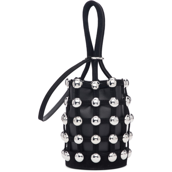 24d55646c2d21 Alexander Wang Mini Roxy Studded Cage Leather Bucket Bag - Black ...