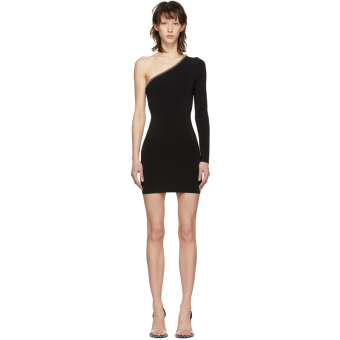 Image of Alexander Wang Black Asymmetric Ball Chain Dress