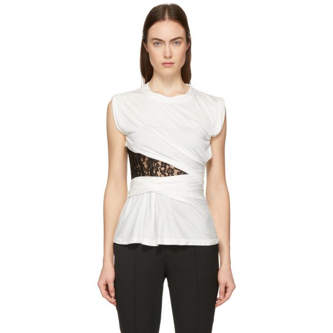 Alexander Wang T-shirt a bustier en dentelle blanc