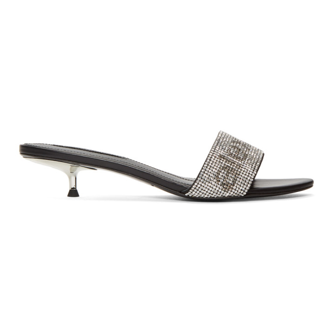 Jo Embellished Leather Mules - Silver Size 6.5 in 001 Black