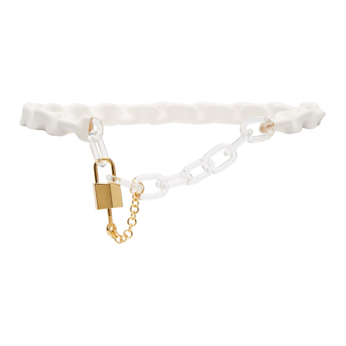 MM6 Maison Margiela White & Gold Chain Belt
