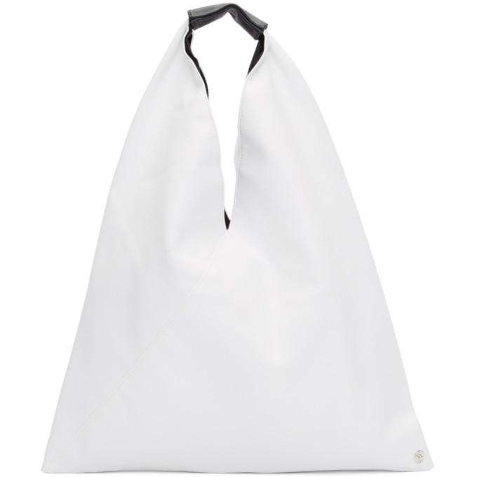 MM6 Maison Margiela White Small Faux-Leather Tote
