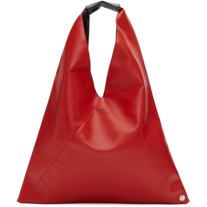 MM6 Maison Margiela Red Small Faux-Leather Tote