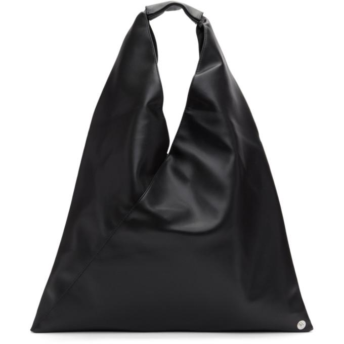 MM6 Maison Margiela Black Small Faux-Leather Tote