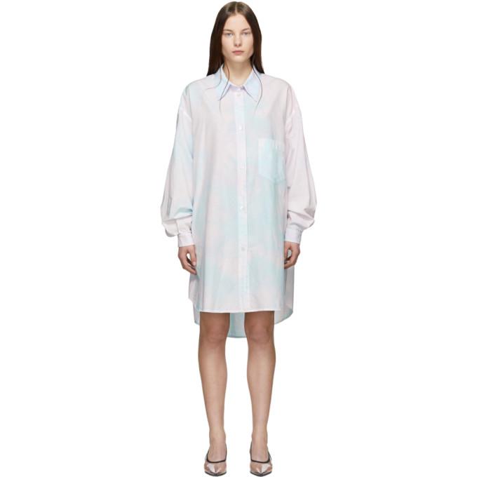 MM6 Maison Margiela ピンク & ブルー シャツ ドレス