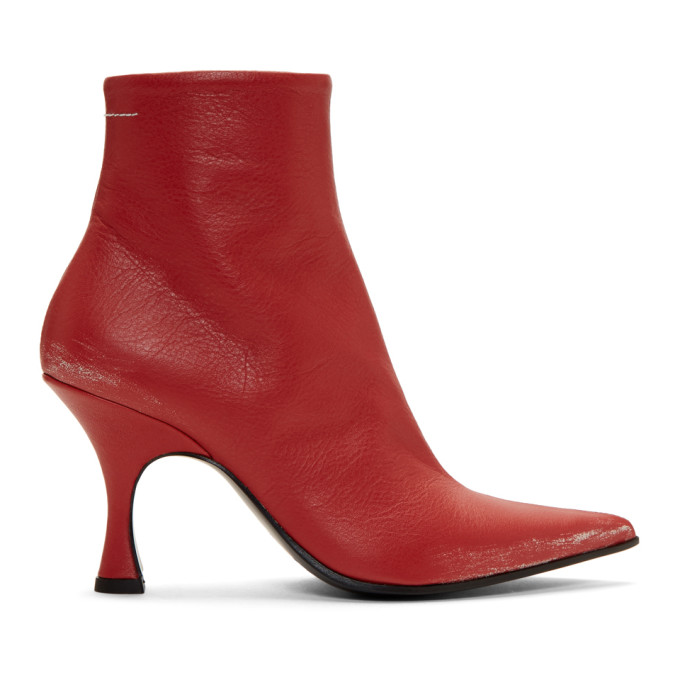 MM6 Maison Margiela Red Distressed Pointed Toe Boots